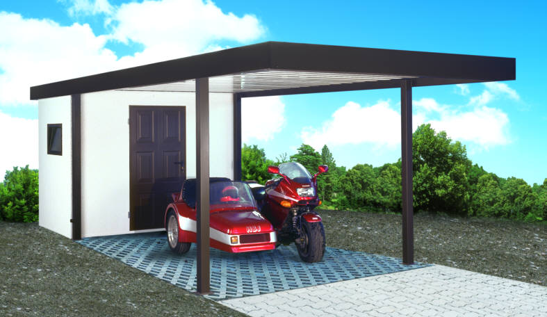 klassik carport mit ger tehaus. Black Bedroom Furniture Sets. Home Design Ideas