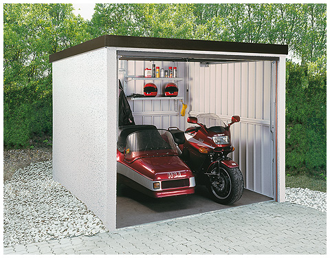 motorradgarage mit schwingtor. Black Bedroom Furniture Sets. Home Design Ideas